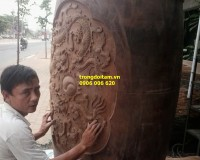 Trống chùa đục gỗ sao nguyên khối